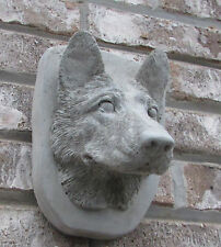 CONCRETE GERMAN SHEPHERD WALL HANGER STATUE/////MONUMENT