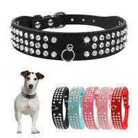 3 Row Crystal Diamante Dog Soft Collar PU Leather Rhinestone Cat Puppy Small Pet
