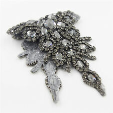 Handmade Crystal Beaded Rhinestone Applique Sew/Iron on Bridal Sash Belt Trim