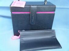 Paris Hilton Black & Pink Box Purse w/Cosmetic Bag & Mirror Hard Side NEW