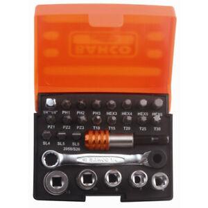 Bahco 2058/S26 Mini Ratchet, Metric Socket & Driver Bit Set 26 Piece Set & Case