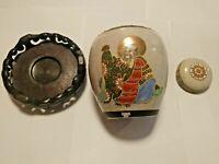 Marked Chinese porcelain Ginger jar/ Vase W Lid & Stand Crackle Glaze