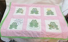 HANDMADE FROG QUILT BABY EMBROIDERED PINKS AND GREENS