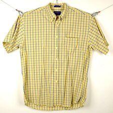 Pendleton Mens Shirt Sz L Short Sleeve Button Front Yellow Blue Plaid Cotton