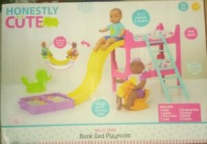 """Honestly Cute My Lil' Baby Bunk Bed Playroom with 2- 8"""" dolls Playset"""