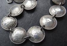 vintage art deco retro SILVER coin Dutch Netherlands bracelet -A156