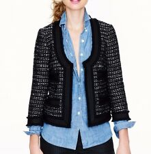 NWT J Crew collection black shimmering tweed jacket with grosgrain trim size 8