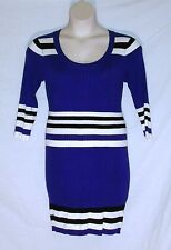 PINK ROSE – SWEATER DRESS – BLUE - BLACK WHITE BLUE STRIPES – SIZE XL – NEW $39