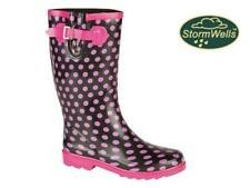 Ladies Stormwells Wellies Pink Polka Dot on Black Gusset Buckle Wellington Boots