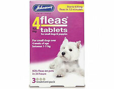 Johnsons 4Fleas Tablets For Dogs. Dogs Over 4 Weeks Between 1-11kg. 3 Pack