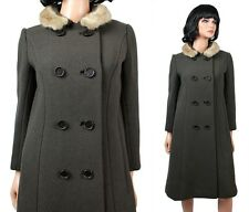 Vintage Princess Coat Sz S Brown Wool Honey Blonde Mink Fur Collar Betti Brent