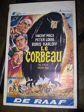 LE CORBEAU THE RAVEN 1960 VINCENT PRICE BORIS KARLOFF BELGIAN POSTER AFFICHE POE