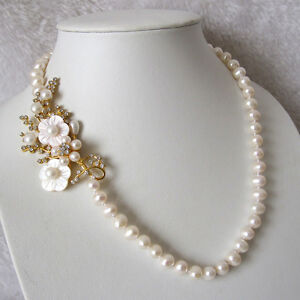 """20.5"""" 8-9mm AA White Freshwater Pearl Necklace Golden Flower"""