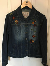 Brighton Denim Jacket w/ Leather Flowers, Brighton Wood Hanger. FREE SHIPPING!