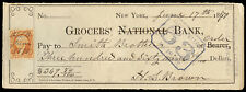 c205 2-cent revenue stamp on June 1871 check: Grocers' Bank, New York