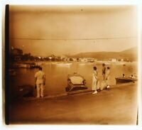 Francia Port Vacanze c1930 Foto Placca Da Lente Stereo Vintage VR16L21n5