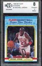 Michael Jordan 1988 Fleer Sticker Basketball #7 HOF BCCG 8 SAME DAY SHIPPING!
