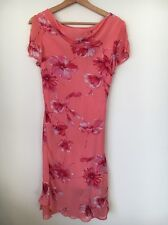 Summer Dress Size 10 Jessica Polyester Lined Pink Floral Short Sleeve <T8609