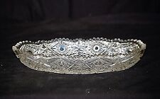 Old Vintage Pressed Glass Celery Dish w Button Star Sides Sawtooth Edges