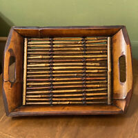 Vintage MCM Dark Stained Bamboo Handled Butler Serving Tray