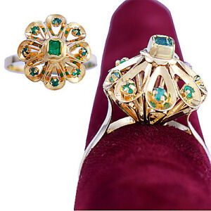 Emerald Halo Cocktail Ring in 18K Yellow Gold Flower Setting