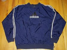 Adidas Navy Poly Blend Pull Over Wind Shirt Jacket Cotton Lined  Men's L MT39