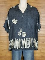 Pineapple Connection Blue Graphic Aloha Hawaiian Shirt Mens Size Large L EUC