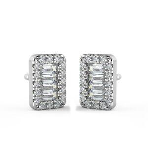 0.40 CT F/VS Round & Baguette Diamond Stud Earrings in 18K White Gold