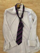 Daniel Hechter White Cotton Pinstripe Shirt 16.5inch