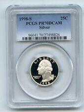 1998 S 25C Silver Washington Quarter Proof PCGS PR70DCAM
