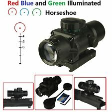 3X30 Compact Prism Scope, Red Blue Green Illuminated