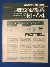 ROTEL RT-724 TUNER OWNER MANUAL FACTORY ORIGINAL ISSUE THE REAL THING