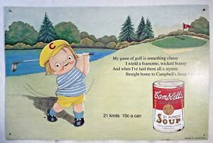 """VTG Campbell's Soup Embossed Metal AAA Sign Co.1993 #20 Nostalgic Golf 15"""" x 10"""""""