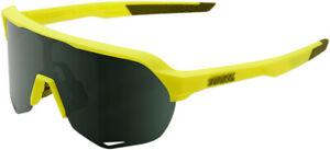 100% S2 Sunglasses Soft Tact Banana w/Grey Green Lens #61003-004-74