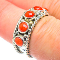 Red Coral 925 Sterling Silver Ring Size 7.25 Ana Co Jewelry R51963F