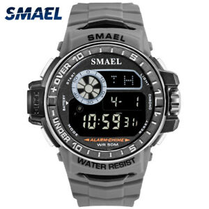SMAEL Men Outdoor Sport Watches LED Electronic Chronograph Digital Wristwatch
