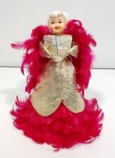 Vintage Japan Christmas Pink Angel Tree Top Feathers Porcelain Head