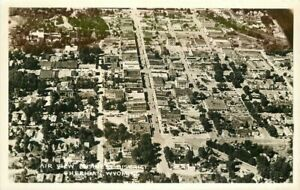 Sheridan Wyoming Business District Airview 1940s RPPC Photo Postcard 21-8682