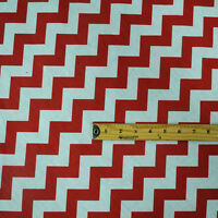 """Chevron Poly Cotton Zigzag Fabric 56"""" / 58"""" Width By The Yard Red"""