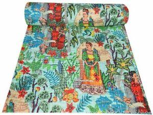 Frida Kahlo Steppdecke Bettdecke Zwilling Kantha Überwurf Indisch Handmade Decke