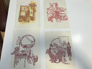 Vintage Chinese Paper Cutting Lot of 4 Stencil Folk Art