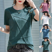 Women Summer Round Neck Short Sleeve Solid Slim T-Shirt Casual Blouse Loose Tops
