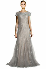 Rene Ruiz Silver Embellished Tulle Illusion Godet Evening Gown Dress 4