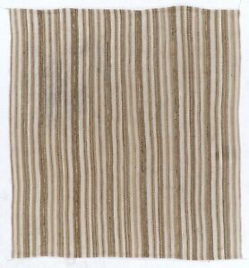 6.2x6.7 Ft Hand-woven Vintage Anatolian Kilim (Flat-weave) with Vertical Bands