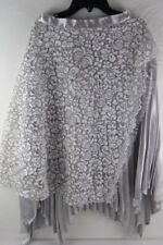 Nasty Girl Metallic Pleated Midi Skirt Silver Size 8 New With Tags
