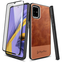 For Samsung Galaxy A31 Case Shockproof Leather Phone Cover + Tempered Glass