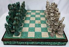 Aztec Mayan Chess Set Wood Stone Large Folding Green Off White Detailed Native