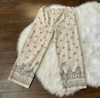 Coldwater Creek Linen Rayon Pants Ankle Womens Pull On Elastic Large Pineapple