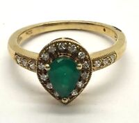 Sterling Silver 925 Gold Tone Green Emerald Pear CZ Pave Cocktail Band Ring 7