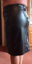 "Real Leather Quality Black Skirt Size 18 Waist 36"" Hip 44"" length 25""Narrow Belt"